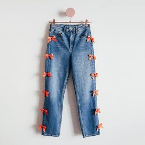 One Of A Kind Bow Blue Denim Jeans